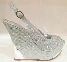 Wedding Prom Slingback Platform Wedge Open Toe Glitter Rhinestone Shoe Sandal SL