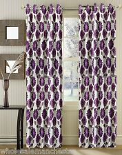 READY MADE PREMIUM QUALITY FLORAL CURTAINS - PINK  PURPLE & CHOCOLATE - SALE !!