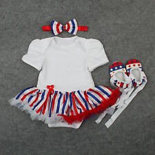 Newborn Baby Girl American Flag Stripe Romper Dress Jumpsuit Outfit Clothes 0-9M