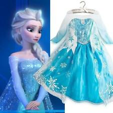 Frozen-Eiskoenigin-Elsa-Anna-Halloween-Kostuem-Maedchen-Kleid-Party-Festkl
