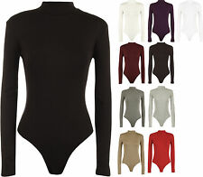 Ladies Bodysuit Turtle Neck Long Sleeve Stretch Leotard Top 4 - 10 New