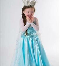 Disney Princess Frozen Queen Elsa Dresses Girl Cosplay Costume Fancy Party Dress