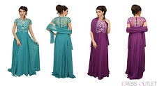 Mother of the Bride Groom Short Sleeve Beaded Bodice A Line Dress Prom Plus Size