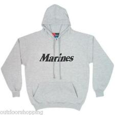 HEATHER GREY MARINES IMPRINTED/LOGO YOUTH'S PULLOVER HOODIE - Draw String, USMC