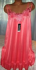 Coral Semi Sheer Nightgowns Slip Chemise 1X 2X 3X Silky Plus Size