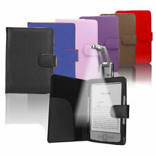 Wallet Leather Case Cover with LED Light for Amazon Kindle 4 4th & 5 Kobo Touch