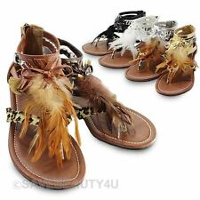 Womens Feather Roman Gladiator T-Strap Suede Thong Flat Sandals Zippered Shoes