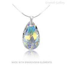 Genuine Swarovski Elements Pendant / Necklace Sterling Silver 925 Drops-16 COLOR
