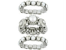SPARKLY Stackable RHINESTONE & METAL RINGS, 3 Color Options, 3 Rings in Each Set