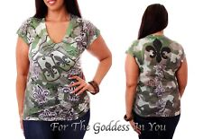 T142 RHINESTONE GREEN CAMO DOG TAGS SUBLIMATION T- SHIRT WOMENS S M L