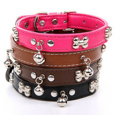 "3.5-5""Charming Pet Dog Cat Collar PU Small bell Adjustable have 4 Color GL013"