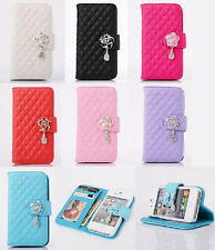 Luxury Leather Wallet Flip Diamonds Flower Case Cover For Apple iPhone HB#2