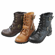 Womens Military Style Lace Up Combat Riding Boots Mid Calf Buckle Zipper Shoes
