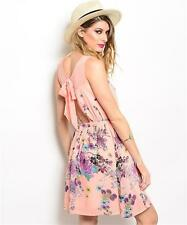 SALE PEACH FLORAL PARTY CASUAL MINI DRESS WITH OPEN BOW TIE BACK DETAIL S L 8 12