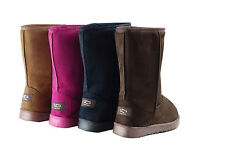 Ladies UCG Snug Casual Boots Suede Mid-Calf Rubber Sole Pink Brown Coffee Black