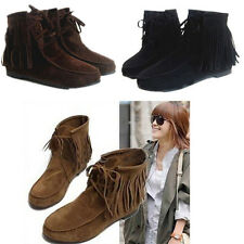 Cheap Women's Nice Fringe Tassel Ankle Boots Matte Suede Lace Up Moccasins Shoes
