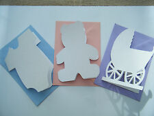 6 Baby Birth / Shower Shaped Blank Cards + Envelopes - for decoration
