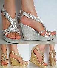 New Ladies Platform 4 Inch Wedge High Heels Party Wedding Diamante Sandals Size