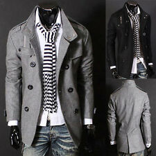 New Fashion Mens Double Breasted Long Trench Coat Wool Blend Jacket Windbreaker