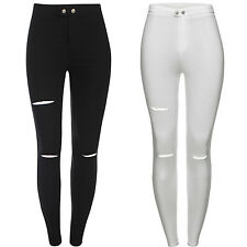New Ladies White Black Skinny High Waisted Cut Out Jeans Leggings Jeggings 6-14