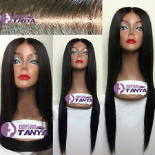 "New 100% Indian Remy Human Hair 12""-24"" Silk Straight Full Wig Lace Front Wig"