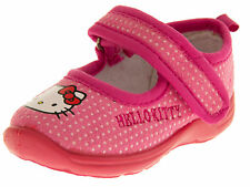 Girls Pink HELLO KITTY Adjustable Strap Ballerina Slippers Shoes Sz Size 12