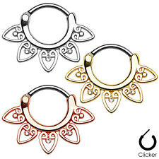 1pc Single Tribal Fan Septum Clicker 316L Surgical Steel 16g Nose Ring