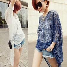 New Sexy Women Hollow Asymmetric Pullover Tops Blouse Shirt Cover Up Beach Dress
