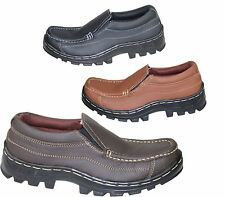 MENS BOYS MILD LEATHER COMFORT BOOTS CASUAL FLAT SLIPON HIKING WALKING SHOES NEW