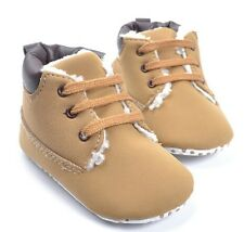 New Soft Sole Baby Boy Brown Fleece Bootees Crib Shoes. Age 3-6, 6-12, 12-18 Mth