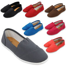 Womens Canvas Shoes Flats Slip-On Classic Casual Boat Comfy Round Toe Ballets