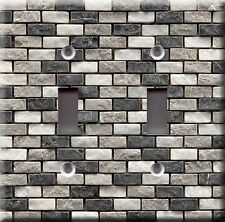 Light Switch Plate Cover - Stone mosaic tile charcoal faux finish - Home decor