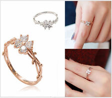 Micro-inlay CZ Four-leaf Clover Silver/Rose Gold Engagement Wedding Party Ring