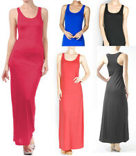 Solid MAXI DRESS Plain Long Tank Racerback Beach Sundress Sleeveless