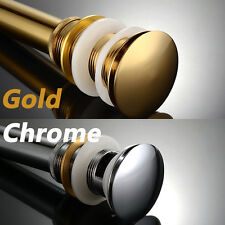 Gold Or Chrome Pop Up Drain Basin Sink Waste Push Button Plug with Overflow