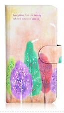 2015 Hot Colorful Tree Painting PU Leather Flip Case Cover For Samsung Galaxy