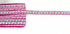 Embroidered Cotton Ribbon 10mm wide  Hot Pink 2, 5 or 10 metre lengths