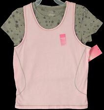 New Girl's Danskin Now 2pc Gray Burnout Heart T-shirt Tee and Pink Tank Top