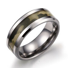 8mm Men's Women's Military Camouflage Camo Ring Tungsten Wedding Band Size 7-13