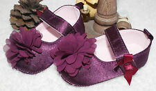 Christening Party Wedding Baby Girl Shoes 0-12 months Toddler Purple Bow