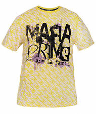 "T-SHIRT STREETWEAR ""MAFIA AND CRIME WE ARE LA FAMILIA"" 100% Cotton Yellow"