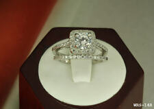 3.45 CT STERLING SILVER  ROUND CZ BRIDAL ENGAGEMENT RING WEDDING HALO RING SET❦❦