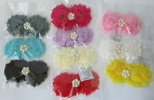 Chiffon Shabby Chic Flower Headband Baby Girl Hairbands Frayed Flower Rhinestone