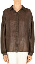Gucci Women's Dark Brown Silk Jacquard Oversize Shirt US XS EU 38