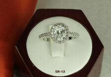 2.45 CT STERLING SILVER OVAL CZ VINTAGE ENGAGEMENT WEDDING PAVE HALO RING ~SR13~