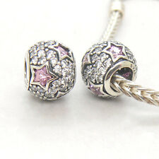 Authentic   Sterling Silver Bead Follow The Stars Pink CZ Charm