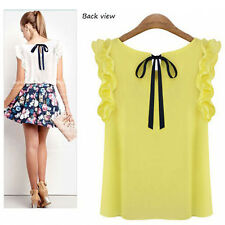 Women's Ladies Summer Loose Casual Chiffon Ruffles Sleeve Vest Shirt Tops Blouse