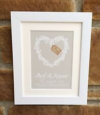 Beautiful Personalised Bridesmaid/Maid of Honour/Wedding, Framed, great gift