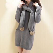 free shipping mink cashmere sweater free with scarf women long pullovers  FS7