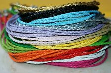 10pcs Mix/Black Braided Leather Cord Necklace String Chain + Lobster Clasp 3mm